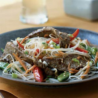 Rice Noodles with Sesame-Ginger Flank Steak