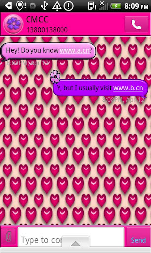 GO SMS THEME PinkHots