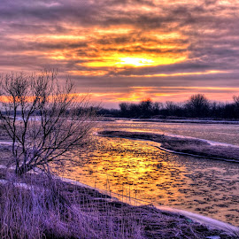 River Ice by Derrill Grabenstein - Landscapes Waterscapes ( water, waterscape )