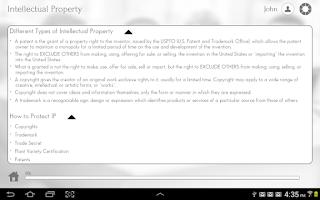 Screenshot of Patent,Trademark and Copyright