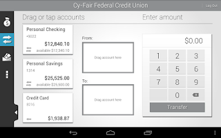 Screenshot of Cy-Fair FCU Mobile Banking