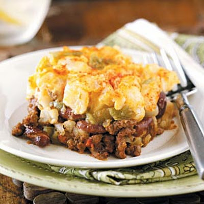 Beef and Potato Nacho Casserole