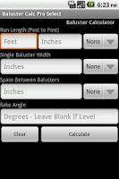 Screenshot of Baluster Calc Pro Select