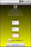 Screenshot of Função Renal - RenalCALC