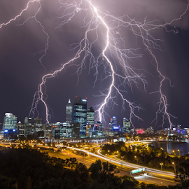 STRIKING PERTH CITY AUSTRALIA by Steve Brooks - City,  Street & Park  Skylines ( kings park, lightning, perth, australia, weather, strikes, storms, travel, western australia )