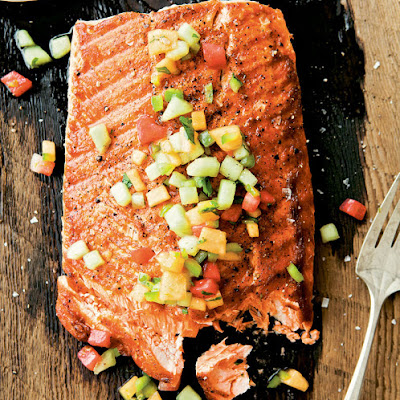 Grilled Salmon with Spicy Melon Salsa