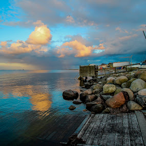 Baltic sea  by Eugen Chirita - Landscapes Waterscapes ( copenhagen, baltic sea, blue, summer, cloud, stone, whater, landscape, danmaek, amager strand )