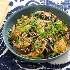 Korean Rice Cakes with Shiitake Mushrooms, Napa Cabbage & Tatsoi