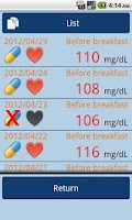 Screenshot of Blood Glucose Records