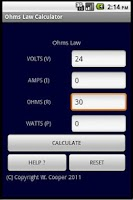Screenshot of OHM'S LAW CALCULATOR