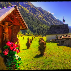 by the roadside by Petr Klingr - Landscapes Travel ( hdr, hay, chapel, flower, alps )