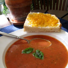 Homemade Tomato-Basil Soup with Cheese Toasts