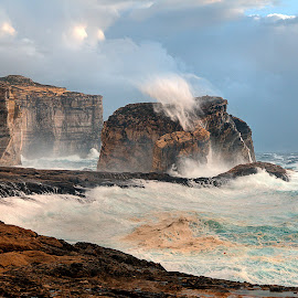 Fungus Rock, Gozo, Malta during a storm by Dave Byford - Landscapes Waterscapes ( gozo, malta, fungus rock, dwerja, azure window, seascape, storn )