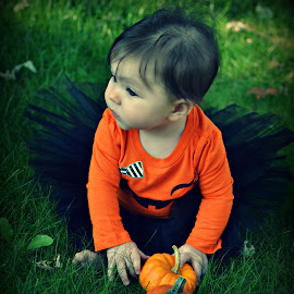 Halloween Princess by Wendie Simonson - Babies & Children Babies ( pumpkin, baby girl, child photography, child portrait, halloween )