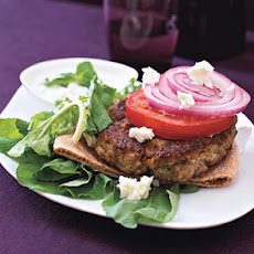 Greek Burger with Arugula, Tomatoes, and Feta