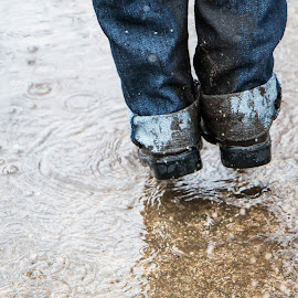 by Magdalena Green - Babies & Children Hands & Feet ( jumping, jeans, feet, puddle, boots, rain,  )