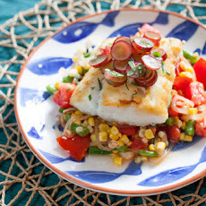 Cod with Pickled Grapes & Summer Succotash