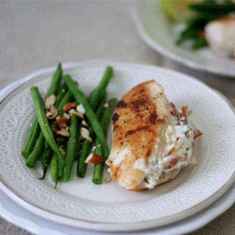 Chicken Stuffed With Goats Cheese And Bacon With Lemony Green Beans And Toasted Almonds