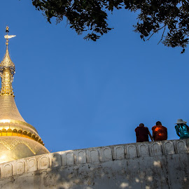 Hangin' out at the Bupaya Pagoda by Mike O'Connor - Buildings & Architecture Places of Worship ( religion, buddhists, myanmar, bupaya pagoda, gold, bagan )