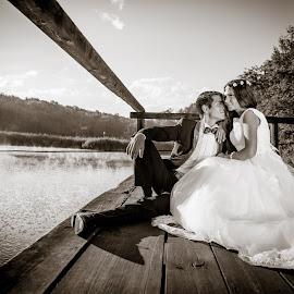 by Anamaria Roman - Wedding Bride & Groom ( love, nature, ttd, wood )