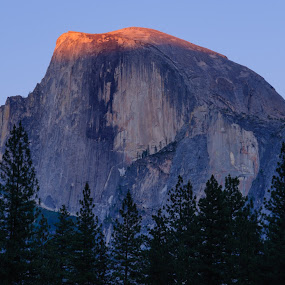 Last Light on Half Dome by Brian Arnold - Landscapes Mountains & Hills ( half dome, yosemite, california, sunset )