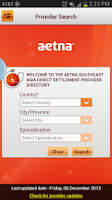 Screenshot of Aetna Southeast Asia Provider