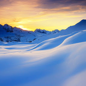 Sunset in the mountains in the Alps by Zoltan Duray - Landscapes Mountains & Hills ( hill, orange, europe, mountain, sun, winter, sky, color, blue, sunset, snow, bluesky, obertauern, sunrise, austria, alps,  )
