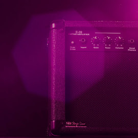 Guitar amplifier by Victor Voicu - Artistic Objects Musical Instruments ( music, scene, pink, guitar, artist, amplifier, the mood factory, mood, lighting, sassy, colored, colorful, scenic, artificial, lights, scents, senses, hot pink, confident, fun, mood factory  )