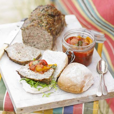Cold Meatloaf With Squashed Tomato & Pepper Salsa