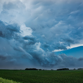 by Amber Olsen - Landscapes Weather ( clouds, iowa, storms, warning, fields,  )