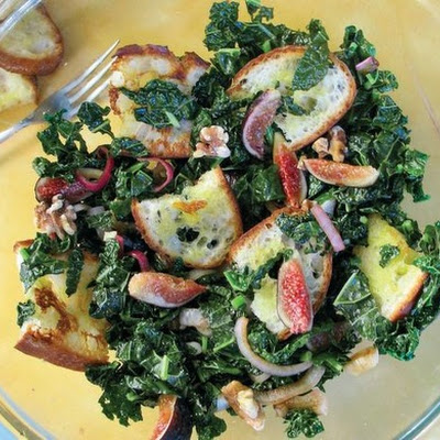 Grilled Bread and Kale Salad With Red Onions, Walnuts, and Figs, From 'Heart of the Plate'