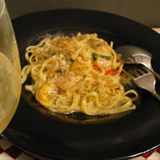 Light but Creamy Fettuccine With Shrimp & Vegetables