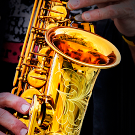 Golden Sax by Bill Tiepelman - Artistic Objects Musical Instruments ( music, hands, saxophone, instrument, gold, golden )