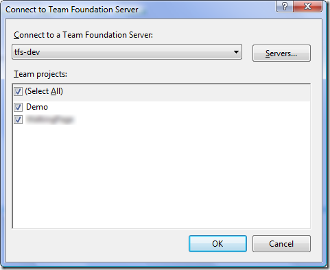 Connect to Team Foundation Server Dialog