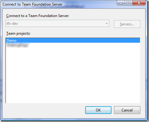 Connect to Team Foundation Server Dialog - Single-Project Select - No Server