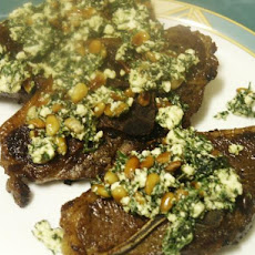 Pan-Seared Lamb Chops With Mint over Greens