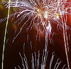 Fireworks dance all around