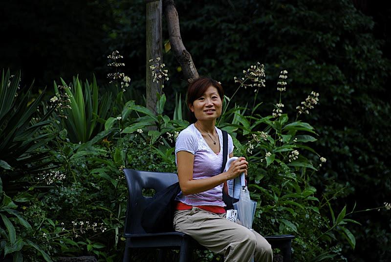 Aya taking a seat in Shizen Kyoiku Park