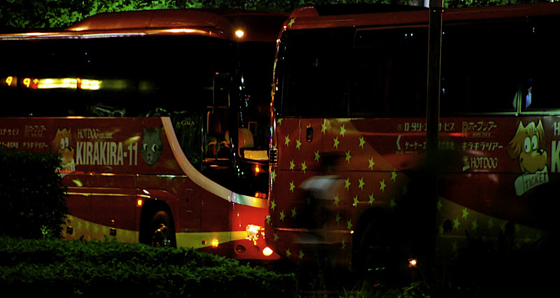 Japanese buses at night
