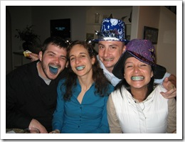 At this point, Chris, Paula, G & Mariana are still laughing about the blue teeth.