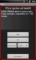 Screenshot of SMS od hasičů