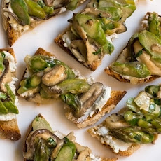 Goat Cheese Toasts with Asparagus-Mushroom Ragu Recipe