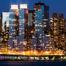 City at dusk. by AUC Photography - Buildings & Architecture Other Exteriors ( orange, skyline, blue, buildings, new york, dusk, city )