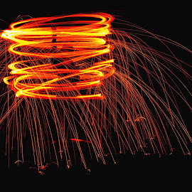 Lighting the night by Debbie Wnukoski - Abstract Light Painting ( light painting )