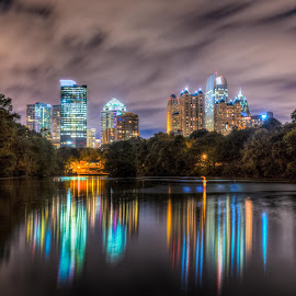 Atlanta Reflections by Bhargava Chiluveru - City,  Street & Park  Skylines ( skyline, hdr, nightshot, skyscrapers, colorful, reflections, lake, long exposure, cityscape, nightscape, city )