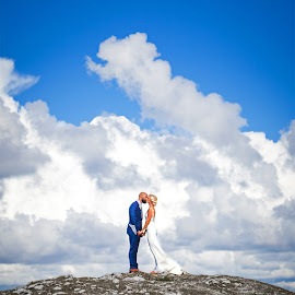 Head in the clouds by Emily Evans - Wedding Bride & Groom ( clouds, colors, wedding, bride, weddingphotographer )