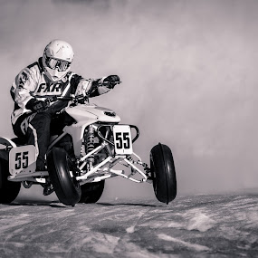 Kicking Up Dust by Beaver Tripp - Black & White Sports ( michigan, upper peninsula, escanaba, great lakes ice racing, motorcycle, ice racing, atv )