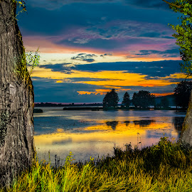 Sunset over the Wulpinskie Lake by Marcin Frąckiewicz - Landscapes Sunsets & Sunrises ( sky, hdr, sunset, lake, river )