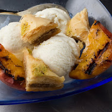 Baklava Sundae with Grilled Peaches Recipe