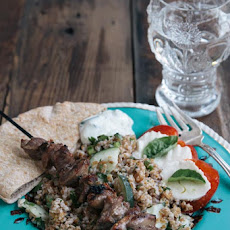 Lamb Souvlakia Recipe with Bulgar Salad